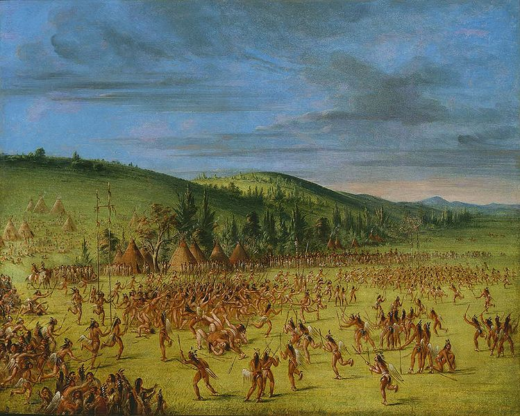 This Wikipedia file artwork shows Native American tribesmen engaged in a game that today is called lacrosse.